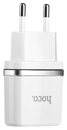 Зарядное устройство  C12 с двумя USB портами на micro-USB Белый