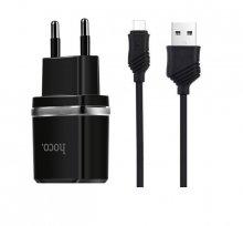 Зарядное устройство  C12 Smart с двумя USB портами на micro-USB Черный