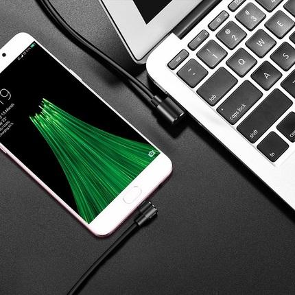 Кабель U37 Long Roam micro 1.2M Двусторонний USB-коннектор Черный