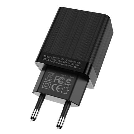 Зарядное устройство  C51A Prestige Power двумя USB портами Черный