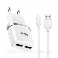 Зарядное устройство  C12 Smart с двумя USB портами на micro-USB Белый