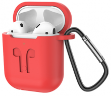 Беспроводные наушники ES32 Apple (красный чехол) белые