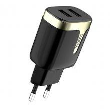 Зарядное устройство C64A Engraved с двумя USB портами Черный