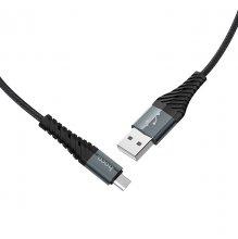 Кабель X38 Cool charging micro 1М нейлоновая оплетка Черный