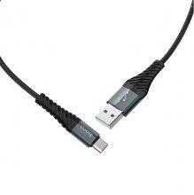 Кабель X38 Cool charging Type-C 1М нейлоновая оплетка Черный